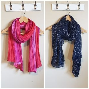 Two Blanket Scarves in Pink and Navy Blue